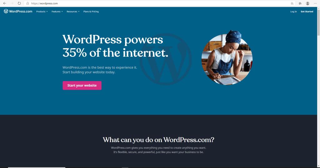 Screenshot of wordpress page 1 setup