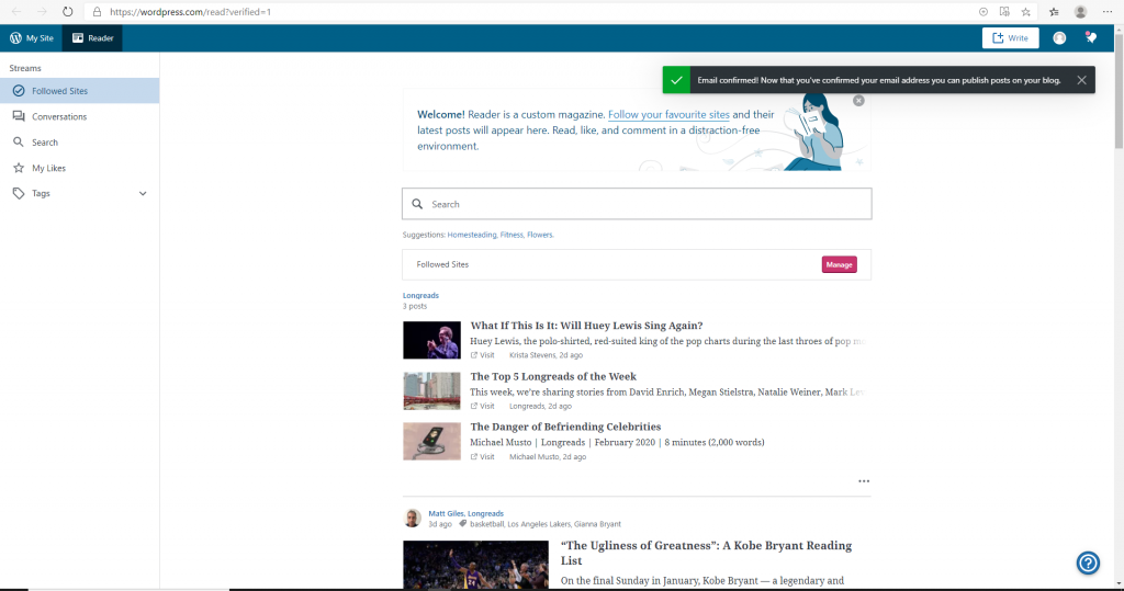 Screenshot of WordPress page showing where to continue to setup.