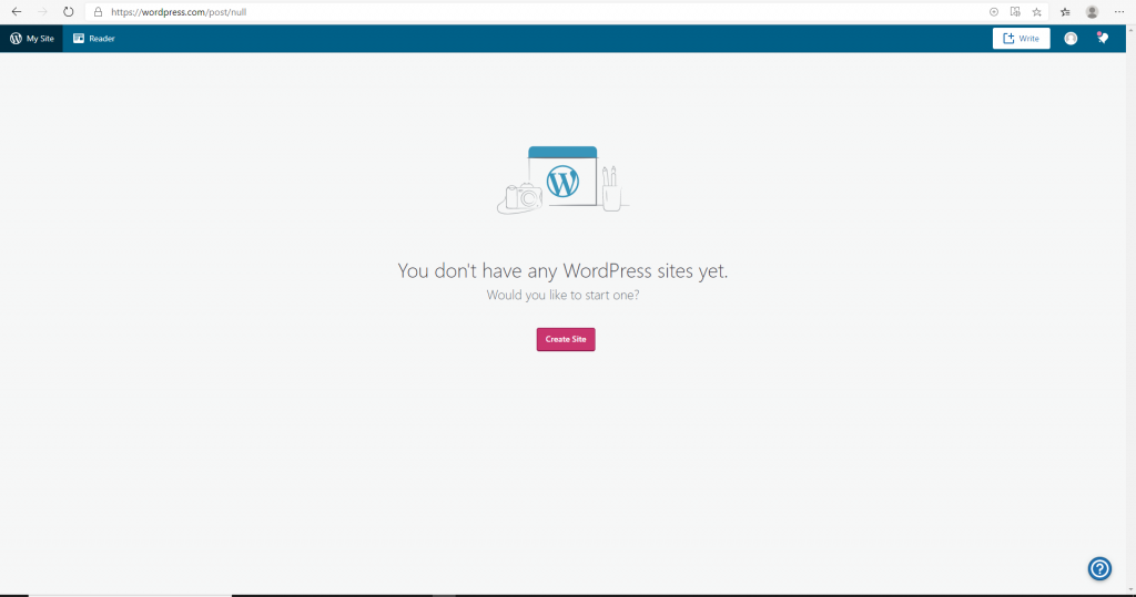 Screenshot of WordPress page with a button to create a WordPress.com website.
