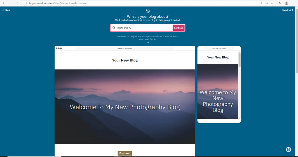 Screenshot of WordPress page when choosing the blog option for photography.